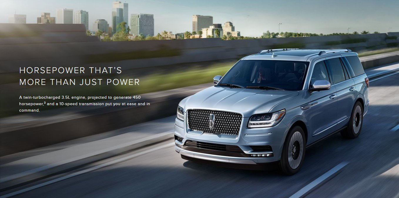 2018 lincoln navigator driving down I-95 in St. Augustine with 450 horsepower.